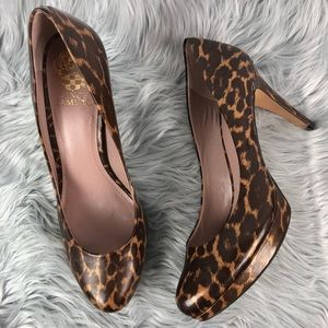 Vince Camuto Brown Leather Animal Print Pumps 8.5